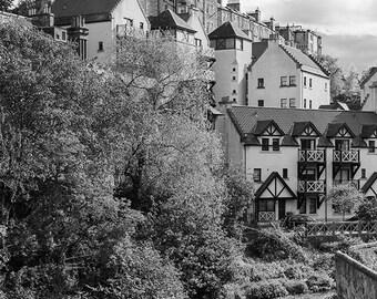 Edinburgh // Scotland // Dean Village // Fine Art Print // Black and White Photograph // Wall Art // Decor // Clouds