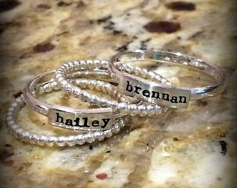 Stacking Name Ring - Stacked Mother's Ring - Personalized Rings - Stackable Rings - Personalized - Name Rings -  for Her - Mother's Day