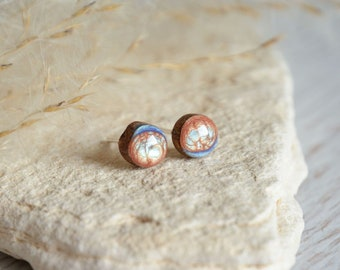Tiny blue brown wood stud earrings with sterling silver post, unique nature inspired studs, hand painted wooden jewelry, reclaimed timber