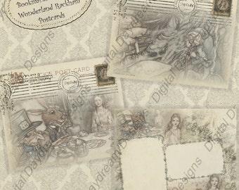 Digital Download Printable Postcards - Alice, Postcards from Wonderland, jpg or pdf