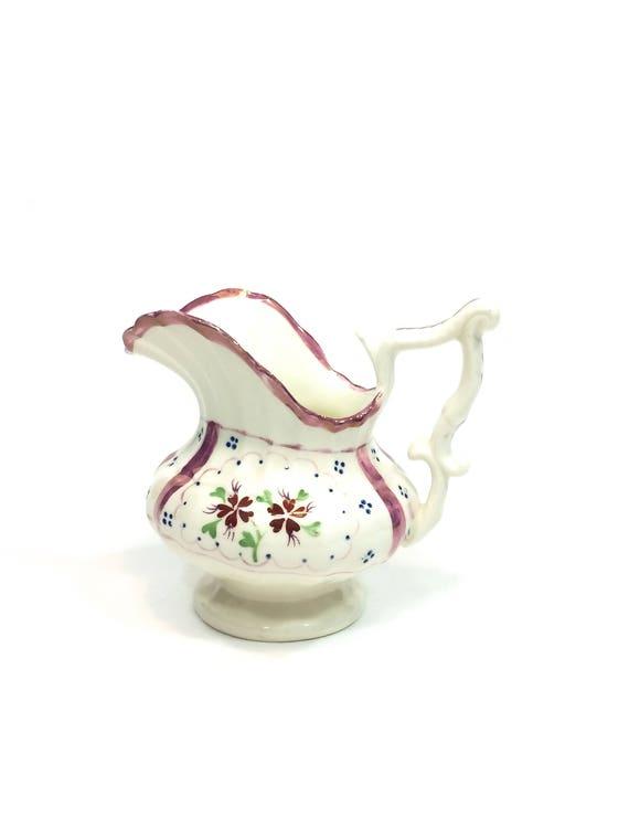 Antique Pink Lusterware Footed Pitcher Creamer, Staffordshire English Creamware, Pink Red Blue Cottage Flowers, Georgian Era
