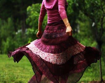 Gypsy skirt , Womens Skirt, Maxi Skirt, classic skirt, boho skirt, Silk Skirt
