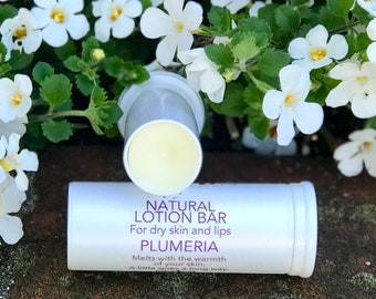 PLUMERIA Natural Lotion Bar Tube, Solid Body Butter