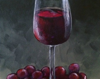"""Wine and Grapes 5"""" x 7"""" Original Wine Still Life Painting by Torrie Smiley"""