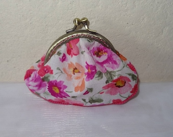 coin purse with pink floral back clasp