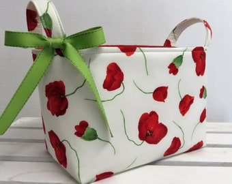 Fabric Storage Organization Organizer Bin Basket - Red Poppy Poppies Flowers on White Fabric