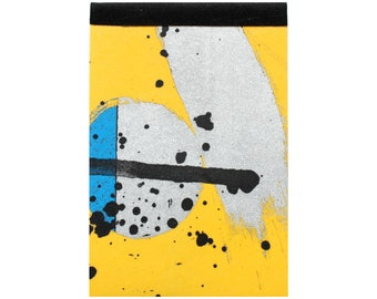 Mini Notepad by Fiona Hamilton - One Off, Paint, Pattern, Splash, Splodge, Foil, 30 Tear off Pages, Yellow, Silver, Blue