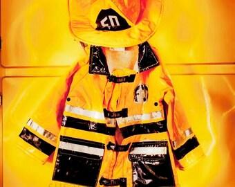 Fire Fighter Dream, digital art photo, kids room, yellow, fireman jacket, yellow art, playroom art, yellow art