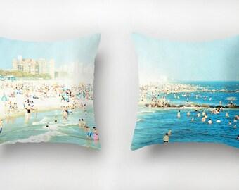 Ensemble de coussins avec des Inserts / / plage décor nautique / / Turquoise jeter oreillers / / impression oreillers de plage / Peeps trempettes Set de deux