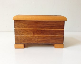 """THORENS Wooden Musical Box 3""""x4.3""""x3.5"""" Made in Switzerland Vintage Doesn't Work  E677"""