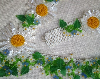 """Ukrainian jewelry.Ukrainian necklace""""Daisies with a forget me not"""" and """"Poppy  with a forget me not"""""""