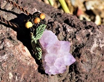 African Cactus Amethyst Quartz Pendant Spirit Quarts/boho jewelry necklace/rare and exotic crystals