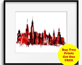 Hamburg Skyline Watercolor Art Print (452) Cityscape Germany