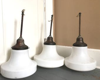 Set of Three Old School House Light Fixtures