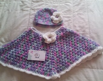 baby girl poncho, poncho and hat set , crochet baby poncho, baby poncho, baby girl poncho, girl poncho, crochet poncho