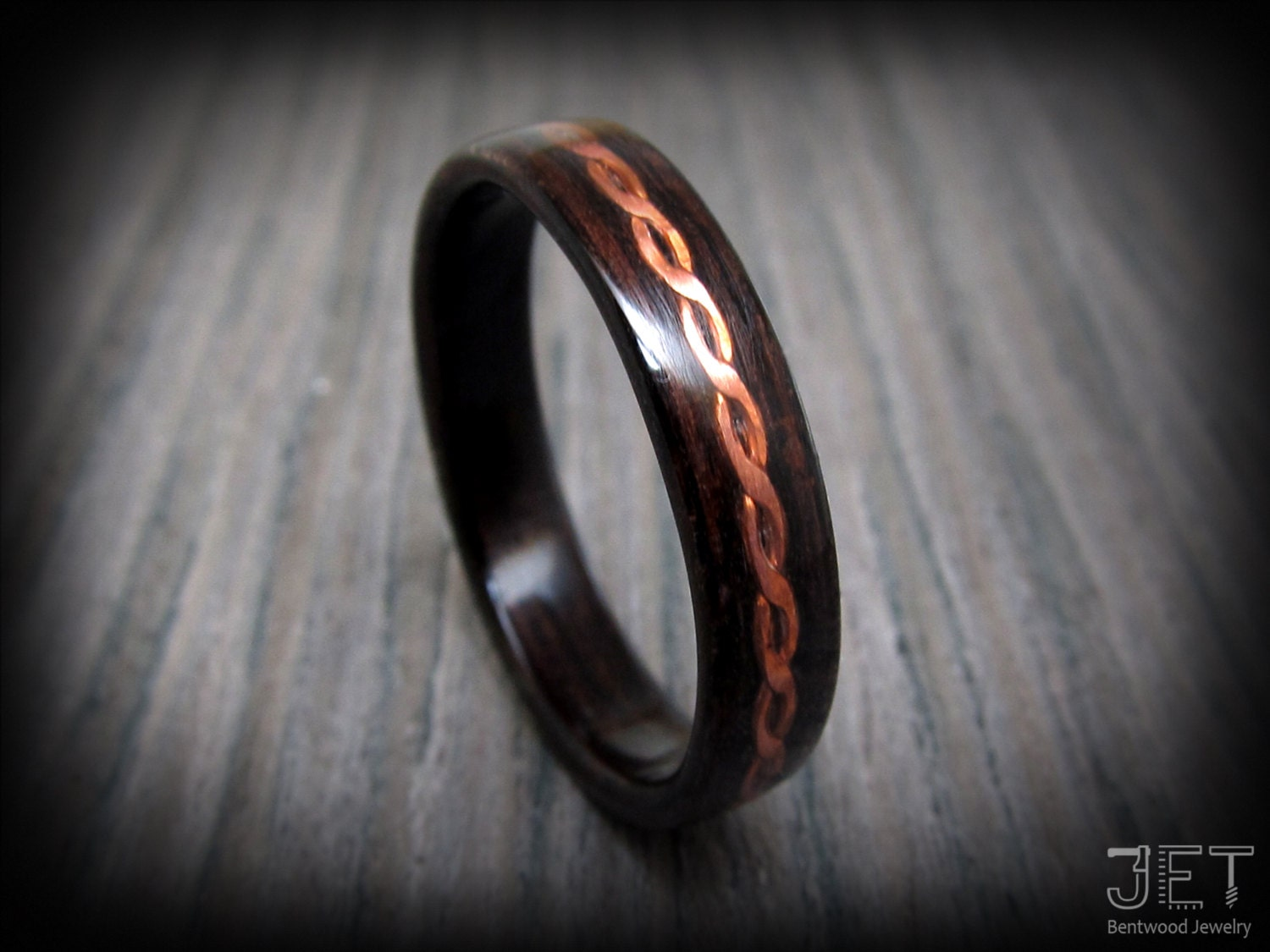 Steam BentWood Ring Macassar Ebony with Twisted and Hammered
