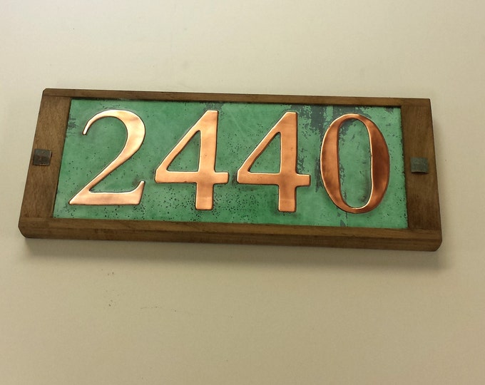 "Copper Address number plaque 3""/75mm, 4""/100mm, 4 x nos. with oak frame, handmade in UK, shipped worldwide o"