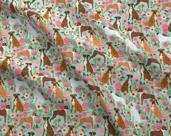 Boxer Fabric - Boxer Dog Vintage Florals on Mint By Petfriendly - Boxer Dog Florals on Mint Cotton fabric by the yard with Spoonflower