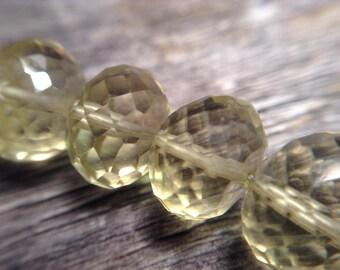 Large 8.5mm Yellow Lemon Quartz Beads