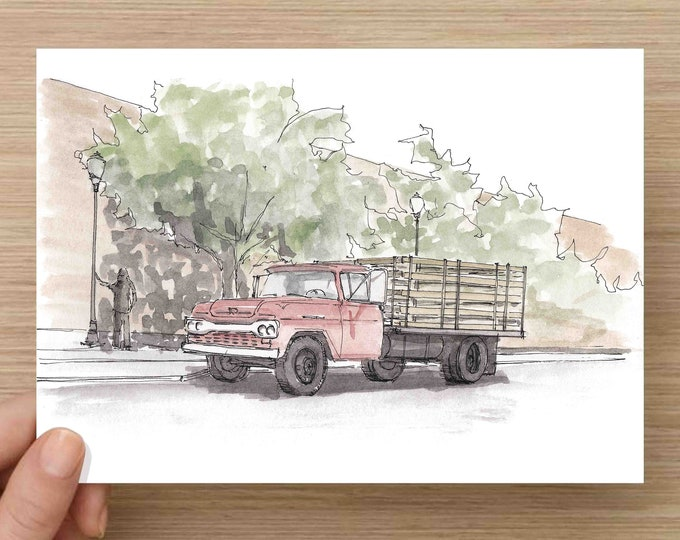 Watercolor Painting of Corner in Winslow, Arizona - Eagles, Take It Easy, Ink Drawing, Sketch, Watercolor, Art, Pen and Ink, 5x7, 8x10
