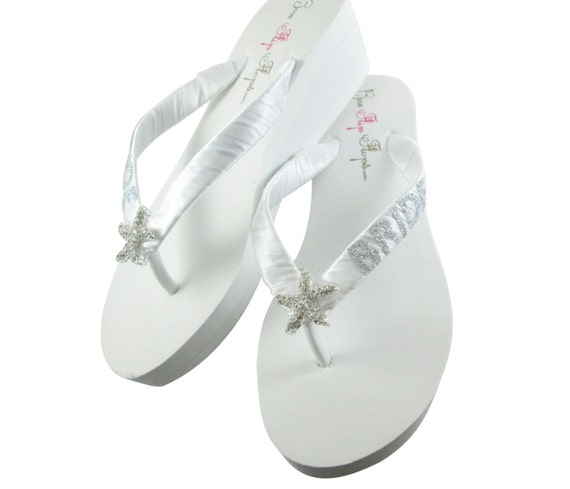 Wedding Bling Bridal bridesmaids Shoes silver or flip Wedge heel White flops Lace Bride glitter Starfish Flops ivory Flip platform 7wgqHqRS