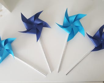 4 pinwheels Blues-turquoise and Navy - to decorate your table decorations - wedding - christening