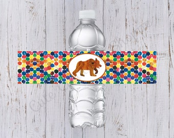 Brown Bear Birthday Water Bottle Labels