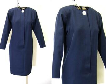 Vintage Navy Dress with Big Button | David Warren | 1980s Long Sleeve Blue Dress