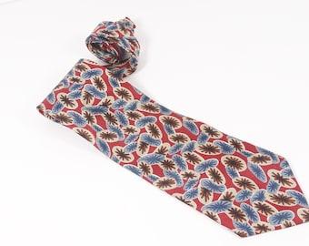 Christian Dior Silk Tie, Vintage Dior Monsieur Red Floral Abstract geometric Men's Tie Dapper Gift