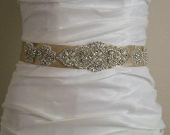 Bridal Wedding Sash, Vintage Wedding Belt, Rhinestone Beige Satin Wedding Sash , Wedding Accessories-BT005