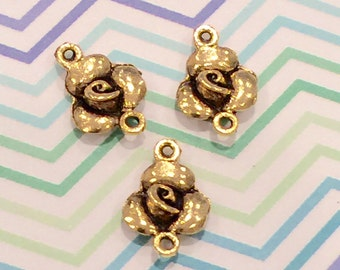 Rose Connector Gold  Charm - 4 pieces-(Antique gold Finish)-