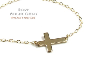 14KT SOLID GOLD Tiny Sideways Cross Necklace in 14Kt White Gold, Yellow Gold and Rose Gold- Seen on JLo, Guiliana Rancic and Miley Cyrus