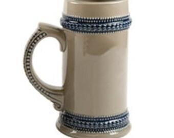 Personalized Grey German Beer Stein