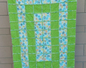 Toddler/Throw-sized Flannel Rag Quilt - Blue and Green