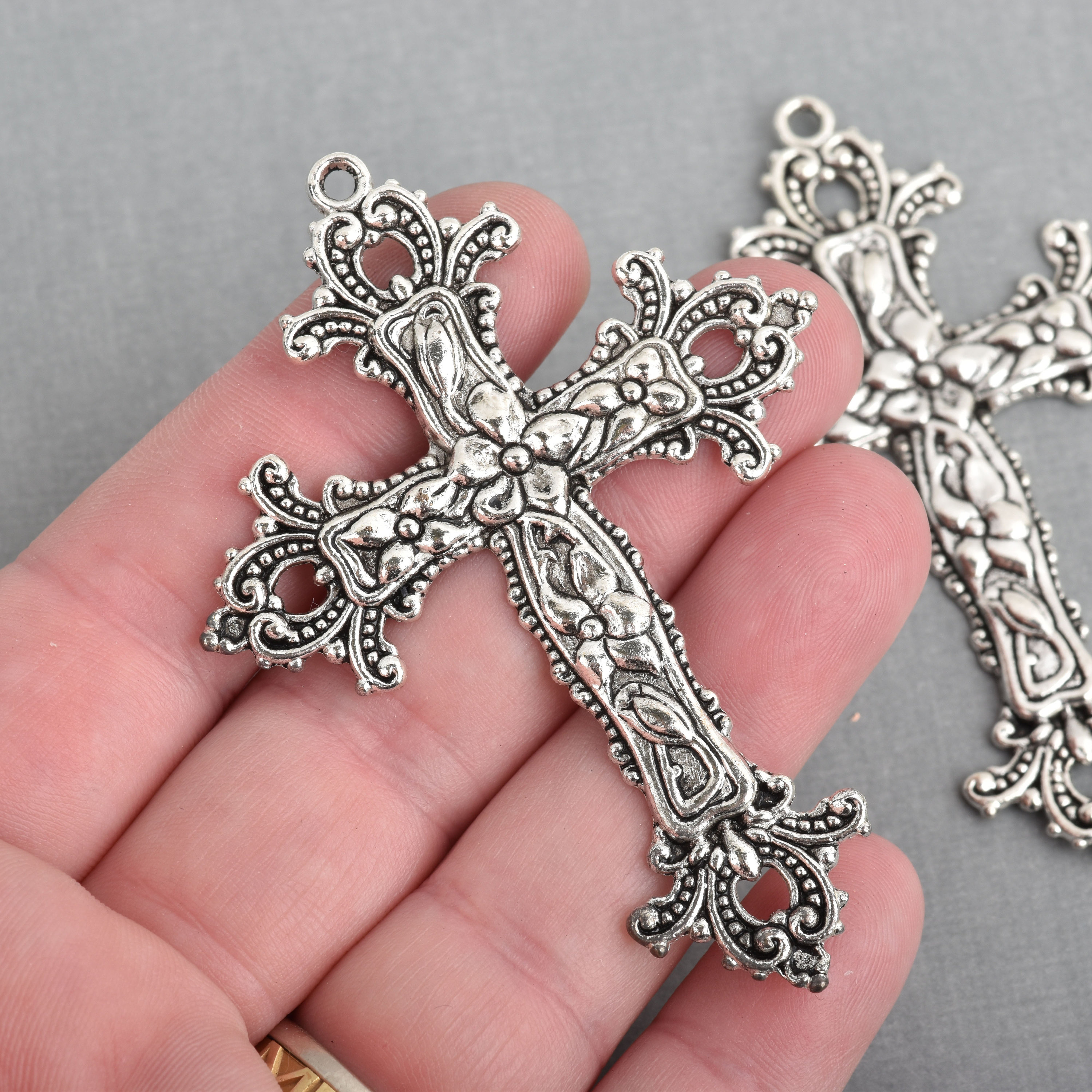 2 large silver cross pendants ornate floral and flourish detail 2 large silver cross pendants ornate floral and flourish detail 75x55mm chs4211 aloadofball Images
