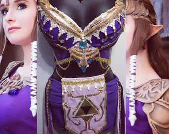 princess zelda outfit rave bra rave wear festival cosplay link nintendo halloween costume cosplayer edc bra music festival purple