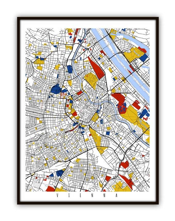 Vienna Map Art Vienna Austria Wall Art Print Poster
