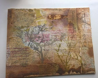 Trees and Words: Mixed Media Collage on Canvas