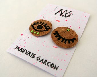 Cork MAGNETS snap - printed and hand embroidered