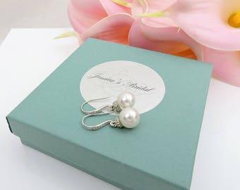 Swarovski Pearl Bridal Earrings Classic Pearl Earrings Pearl Bridesmaid Earrings Bridesmaid Gift Simple Pearl Deco Drop Earrings