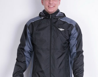 Umbro Mens M Jacket Hood Full Zipper Black Sport