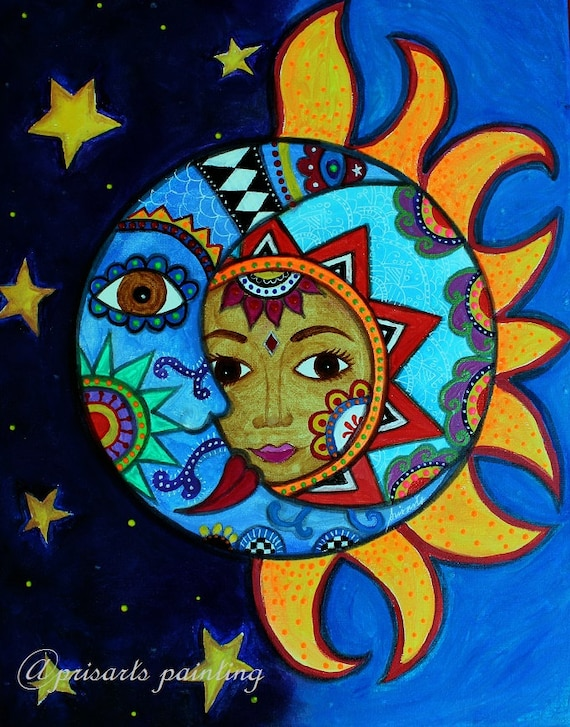 Brand-new Items similar to Folk Art Pristine Whimsical Sun and Moon Couple  OA25