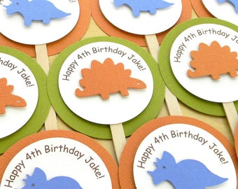 Dinosaur Happy Birthday Party Cupcake Toppers