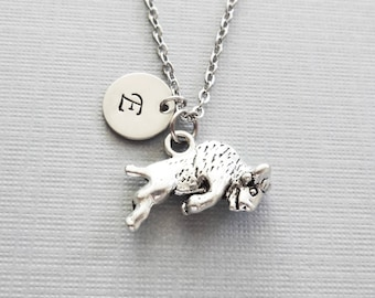 Bull Necklace, Raging Bull, Taurus Zodiac Charm, Ox Bull, BFF Friend, Silver Jewelry, Personalized, Monogram, Hand Stamped Letter Initial