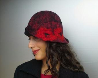 Papavero hat, Winter Cloche Hat, Asymmetrical Brim Style, Gatsby Style Romantic, Vintage Style Handmade Hat