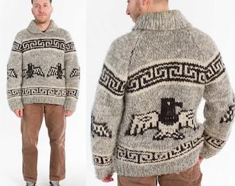 Vintage Cowichan Sweater / Eagle Knit / Size L