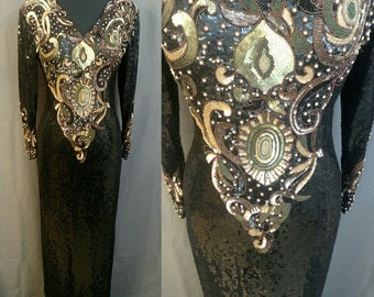 1980s Vintage Oleg Cassini Black Sequin and beaded Gown - 80s Evening Gown 100% Silk with - Black, Green & Gold Sequins - Size 6