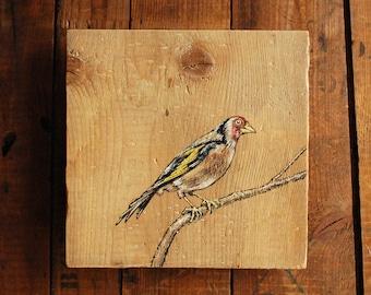 Goldfinch, Original Bird Painting on Reclaimed Wood