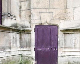 Paris Print, Purple, Door Photo, Travel Gift, Rustic Decor, Vertical, Paris Photography Large Wall Art