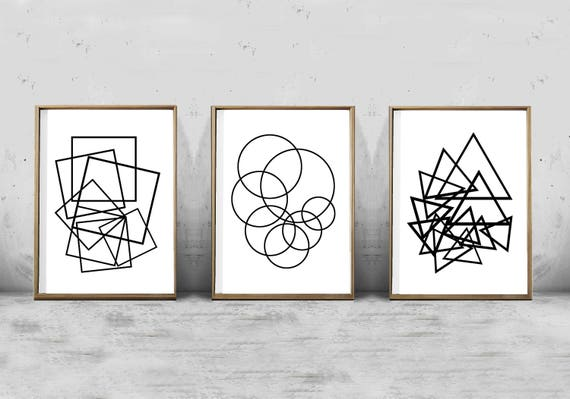 Geometric art prints set of 3 black white wall art abstract prints minimalist art printable posters lines wire art scandinavian modern